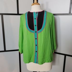 Bob Mackie lime green silk colorblock bib blouse